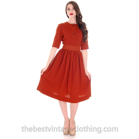 Rare 1950s Marimekko Wool Day Dress Nutmeg Color Sz EU 42  37-28-Free