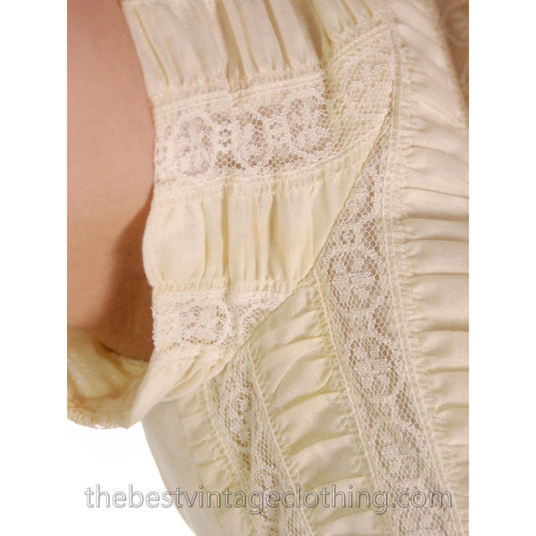 Sweet 1950s Vintage Day Dress Pale Yellow Lace Bodice 33-24-Free Small - The Best Vintage Clothing  - 7