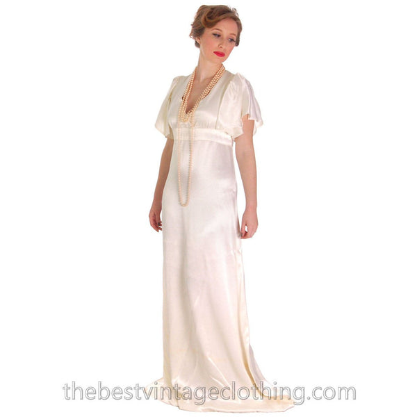 Vintage Backless Ivory Satin Gown Wedding Party 1970s Empire Waist S 32-27-34 - The Best Vintage Clothing
