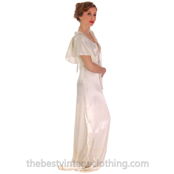 Vintage Backless Ivory Satin Gown Wedding Party 1970s Empire Waist S 32-27-34 - The Best Vintage Clothing  - 2