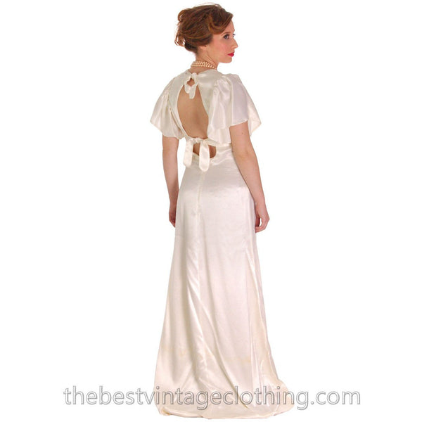 Vintage Backless Ivory Satin Gown Wedding Party 1970s Empire Waist S 32-27-34 - The Best Vintage Clothing  - 3