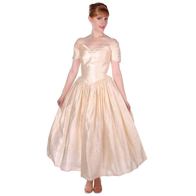 Vintage Raw Silk Ivory Wedding or Evening Gown 1950s 32-25-Free ...