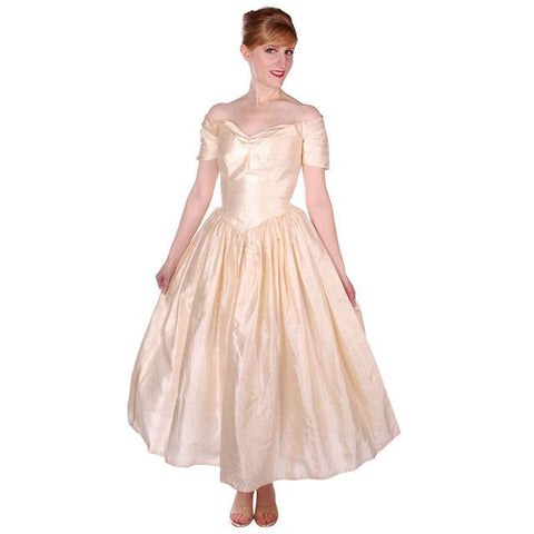 Vintage Raw Silk Ivory Wedding or Evening Gown 1950s 32-25-Free