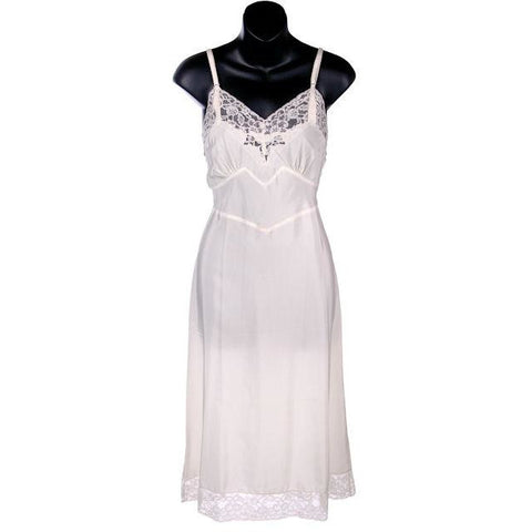 Vintage Full Slip SeamPrufe White Acetate/Nylon 1940s Beautiful Lace Size 32