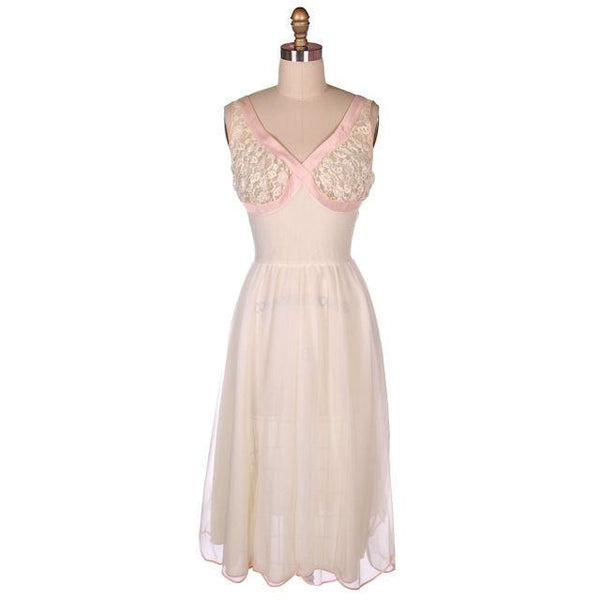 Vintage Sheer & Lace 2PC Peignoir Pink 1950s Classic Eye-Ful Label Small 34 - The Best Vintage Clothing  - 1