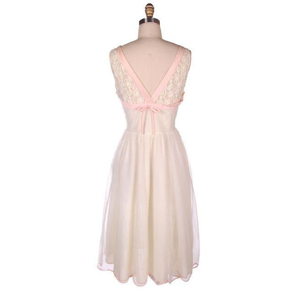 Vintage Sheer & Lace 2PC Peignoir Pink 1950s Classic Eye-Ful Label Small 34 - The Best Vintage Clothing  - 6