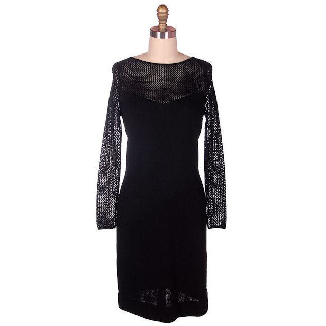 Vintage Black Knit Dress Openwork Sleeves & Yoke Robert Cappello 1980s Small - The Best Vintage Clothing  - 1