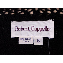 Vintage Black Knit Dress Openwork Sleeves & Yoke Robert Cappello 1980s Small - The Best Vintage Clothing  - 4