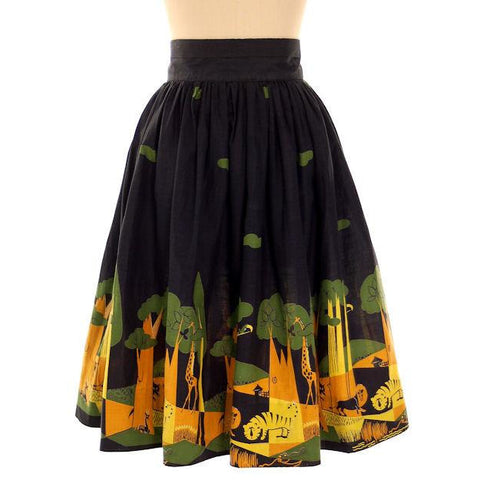 "Vintage Ladies Cotton Skirt Fun Jungle Forest  Border Print 1940s 28"" Waist"