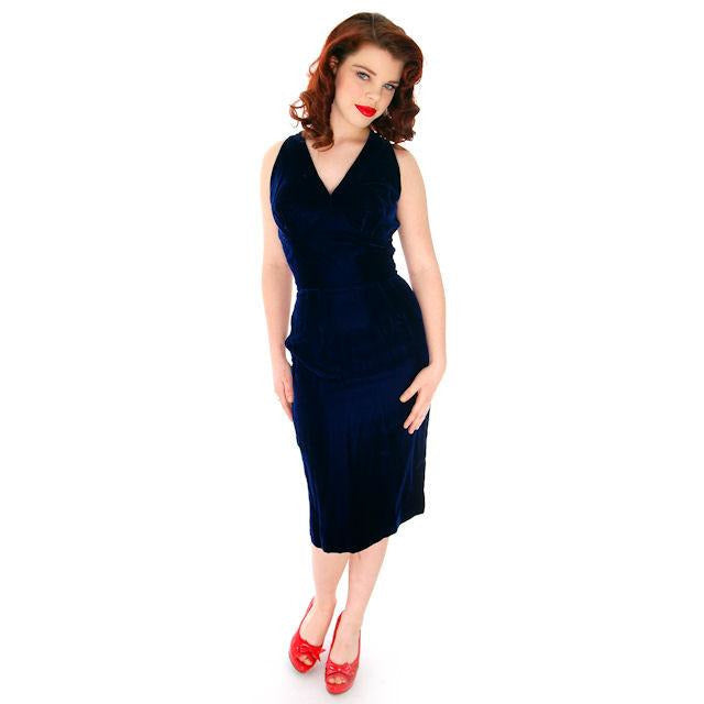 085383b5501 Hot Vintage Bombshell Cocktail Dress Deep Blue Velvet Halter Neckline Miss  Jane 1950s 34-23 ...