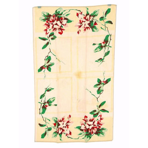 Vintage Kitchen Towel Cotton  Pink & Red Magnolias 1940s