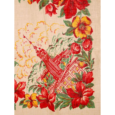 Vintage Hawaii Tablecloth Red Hibiscus Flowers The Pierio 26 x 32