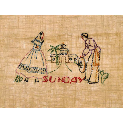 "Vintage Kitchen Towel Stevens Linen ""Sunday"" Embroidered 1940s"