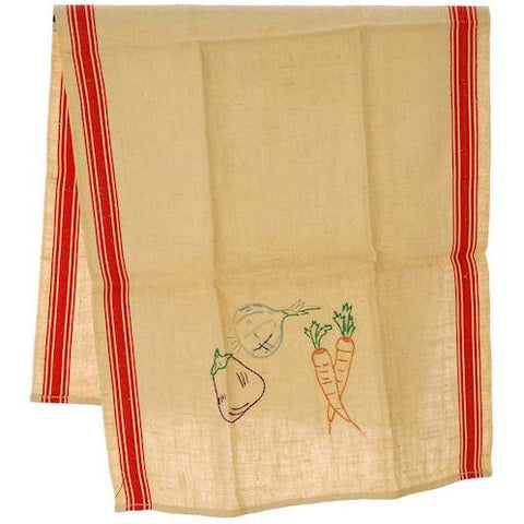 Vintage Kitchen Linen Dish Towel Never Used 1940s Embroidered - The Best Vintage Clothing  - 1
