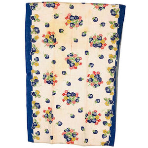Vintage Kitchen Towel Cotton  Blue Strawberries 1940s - The Best Vintage Clothing  - 1