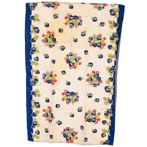 Vintage Kitchen Towel Cotton  Blue Strawberries 1940s