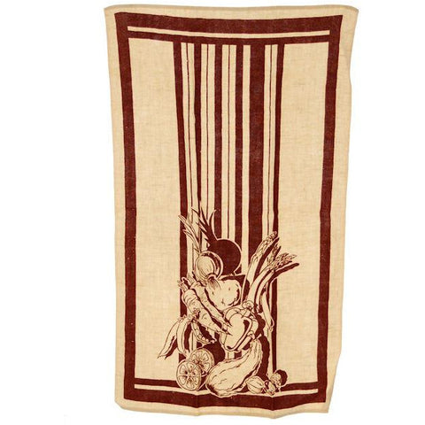 Vintage Kitchen Linen Towel Brown & Cream Veggies 1940s
