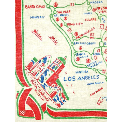 Vintage Map Of California Tablecloth 1940s 30 x 34