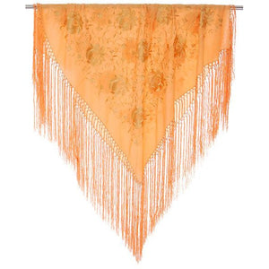 Vintage Embroidered Shawl w/Fringe Peach Color Downton Abbey Era - The Best Vintage Clothing  - 1