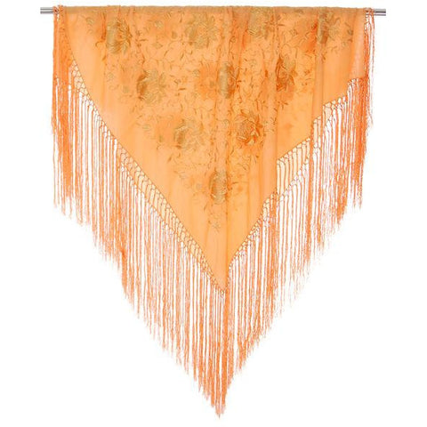 Vintage Embroidered Shawl w/Fringe Peach Color Downton Abbey Era