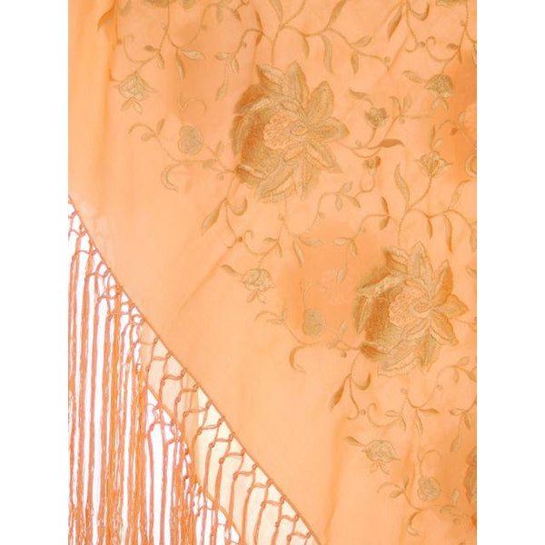 Vintage Embroidered Shawl w/Fringe Peach Color Downton Abbey Era - The Best Vintage Clothing  - 2