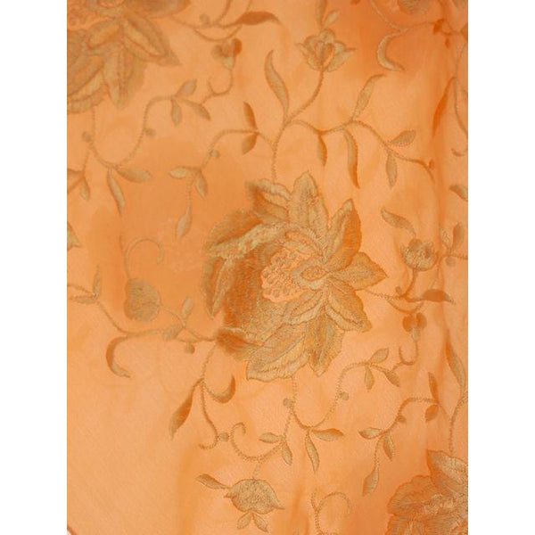 Vintage Embroidered Shawl w/Fringe Peach Color Downton Abbey Era - The Best Vintage Clothing  - 3