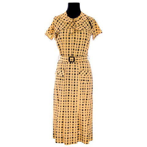 Vintage Dress Yellow & Black Plaid 1920s For Costume or Redesign