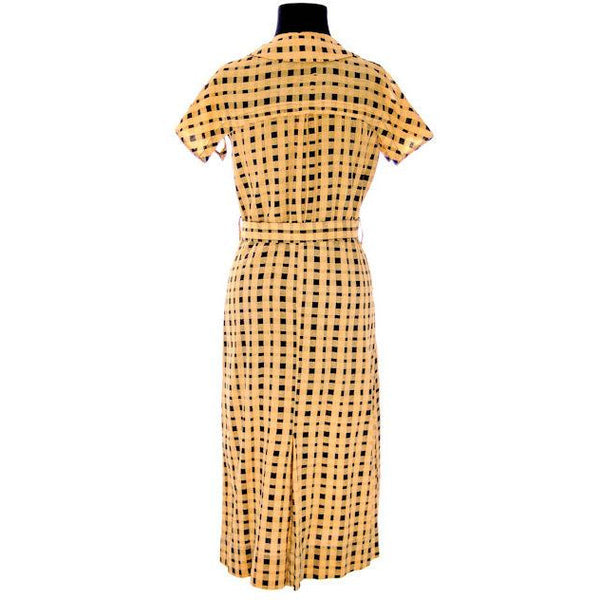 Vintage Dress Yellow & Black Plaid 1920s For Costume or Redesign - The Best Vintage Clothing  - 3