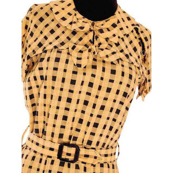 Vintage Dress Yellow & Black Plaid 1920s For Costume or Redesign - The Best Vintage Clothing  - 4