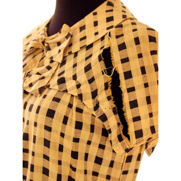 Vintage Dress Yellow & Black Plaid 1920s For Costume or Redesign - The Best Vintage Clothing  - 5