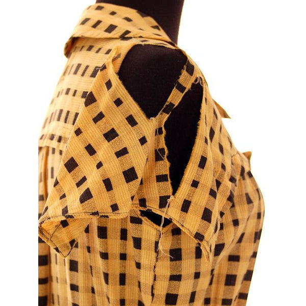 Vintage Dress Yellow & Black Plaid 1920s For Costume or Redesign - The Best Vintage Clothing  - 6