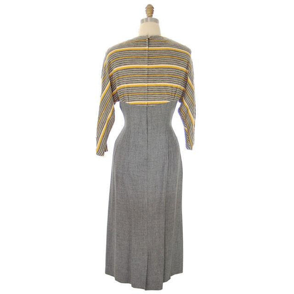 Vintage Gray Gab/Yellow Knit Dress for Design Or Remodel 1940s - The Best Vintage Clothing  - 3