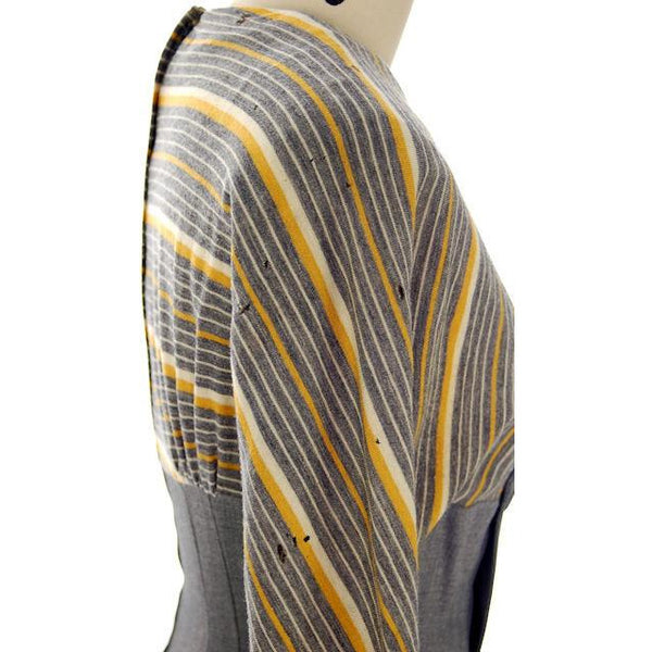 Vintage Gray Gab/Yellow Knit Dress for Design Or Remodel 1940s - The Best Vintage Clothing  - 6