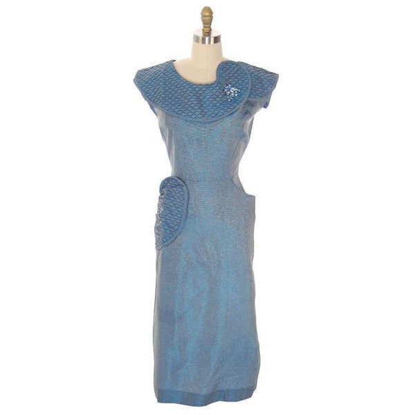 Vintage Changeable Blue Bombshell Dress Great Pocket Detail 1950s 38-26-38 - The Best Vintage Clothing  - 2