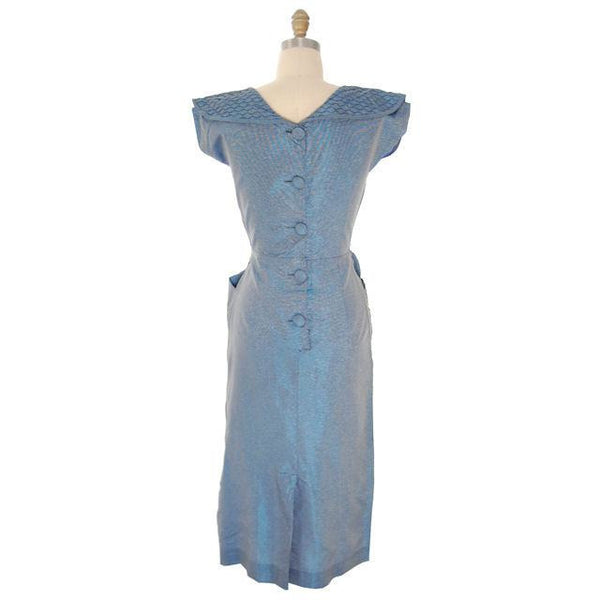 Vintage Changeable Blue Bombshell Dress Great Pocket Detail 1950s 38-26-38 - The Best Vintage Clothing  - 4