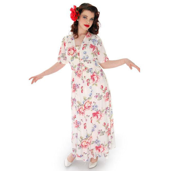 Beautiful Vintage Peignoir Rayon Floral Print 1940s Radcliffe 38-27-34 - The Best Vintage Clothing  - 2