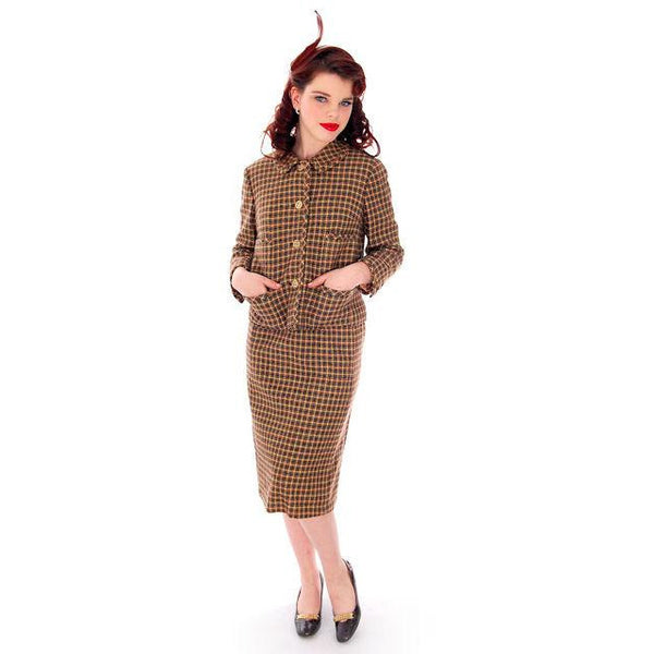 Vintage Davidow Womens Suit Chanel Style 1960s Wool 38 24