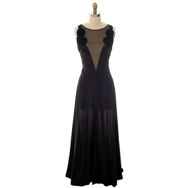 Vintage Black Nylon Full Length Negligee Blanche by Ralph Montenero 1970s L - The Best Vintage Clothing  - 1