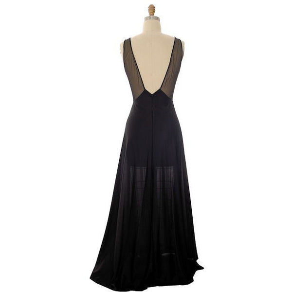 Vintage Black Nylon Full Length Negligee Blanche by Ralph Montenero 1970s L - The Best Vintage Clothing  - 3