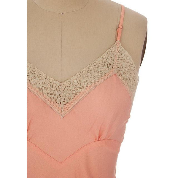 Vintage Full Slip Bias Cut Peach Rayon Lace Trim Sz  36 1930s - The Best Vintage Clothing  - 4