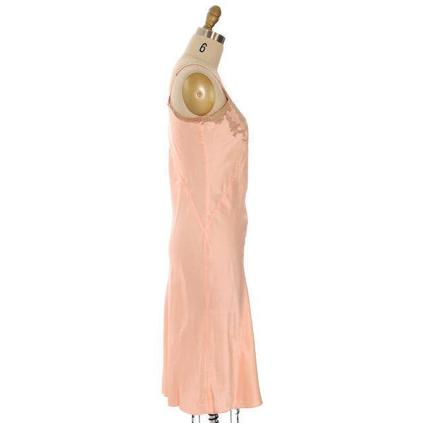 Vintage Full Slip Bias Cut Peach Rayon Satin w/ Lace Trim  Sz  38 1930s Adso - The Best Vintage Clothing  - 2