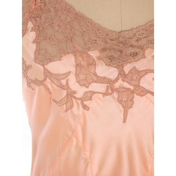 Vintage Full Slip Bias Cut Peach Rayon Satin w/ Lace Trim  Sz  38 1930s Adso - The Best Vintage Clothing  - 4