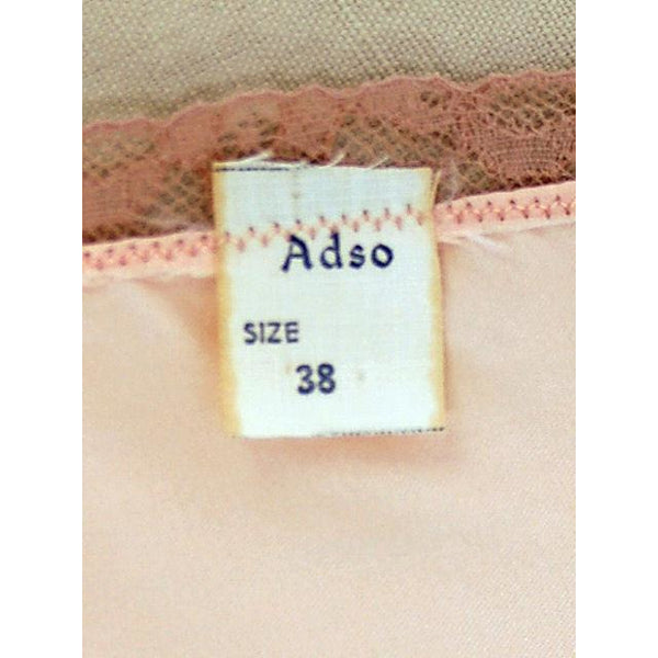 Vintage Full Slip Bias Cut Peach Rayon Satin w/ Lace Trim  Sz  38 1930s Adso - The Best Vintage Clothing  - 5
