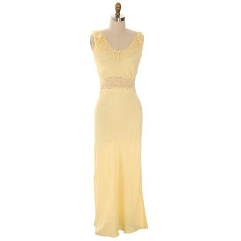 Vintage Nightgown Bias Cut Yellow Rayon w/ Lace Insets Sz 38 1930s