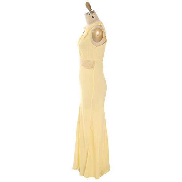 Vintage Nightgown Bias Cut Yellow Rayon w/ Lace Insets Sz 38 1930s - The Best Vintage Clothing  - 2