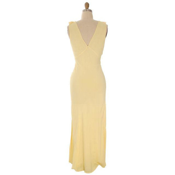 Vintage Nightgown Bias Cut Yellow Rayon w/ Lace Insets Sz 38 1930s - The Best Vintage Clothing  - 3