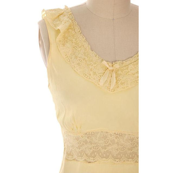 Vintage Nightgown Bias Cut Yellow Rayon w/ Lace Insets Sz 38 1930s - The Best Vintage Clothing  - 4