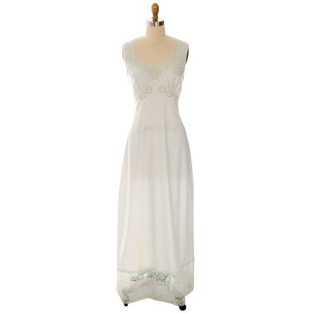 Vintage Nightgown Mint Green Nylon Satin Fantasy Label 36L 1940s - The Best Vintage Clothing  - 1