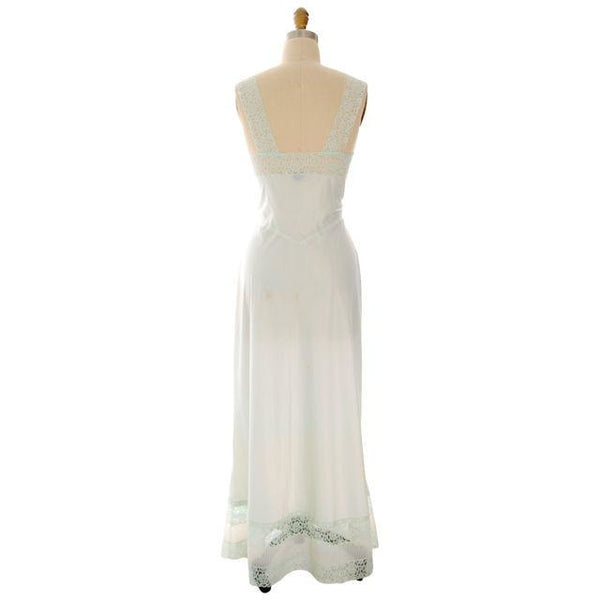 Vintage Nightgown Mint Green Nylon Satin Fantasy Label 36L 1940s - The Best Vintage Clothing  - 3