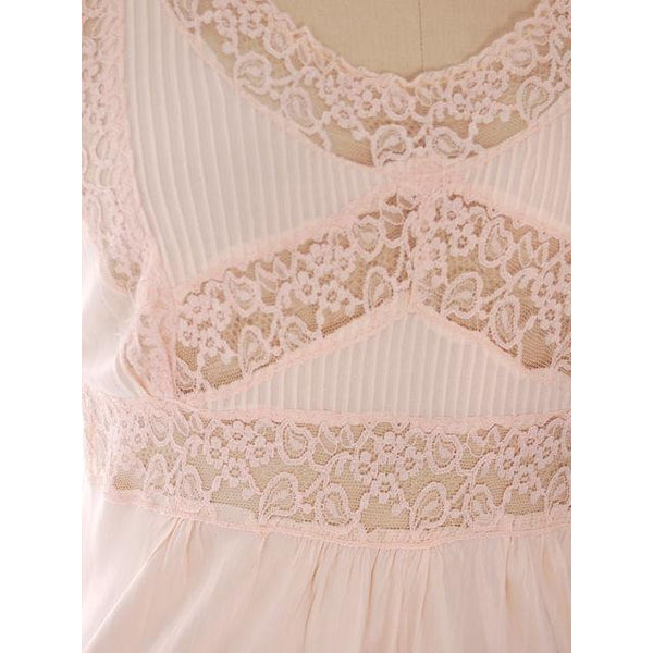"Vintage  Nightgown Rayon Pale Pink W/ Lace 40"" Bust - The Best Vintage Clothing  - 4"